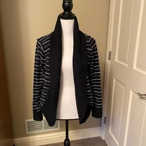 Black with White Stripe Cardigan Sweater
